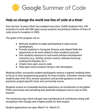 Google Summer of Code 2020